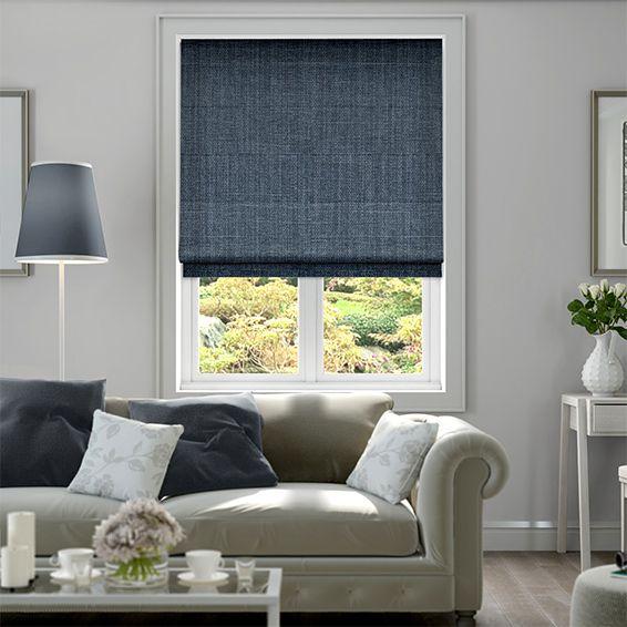 Cavendish Denim Blue Roman Blind Living Room Blinds Roller Blinds Living Room Blinds