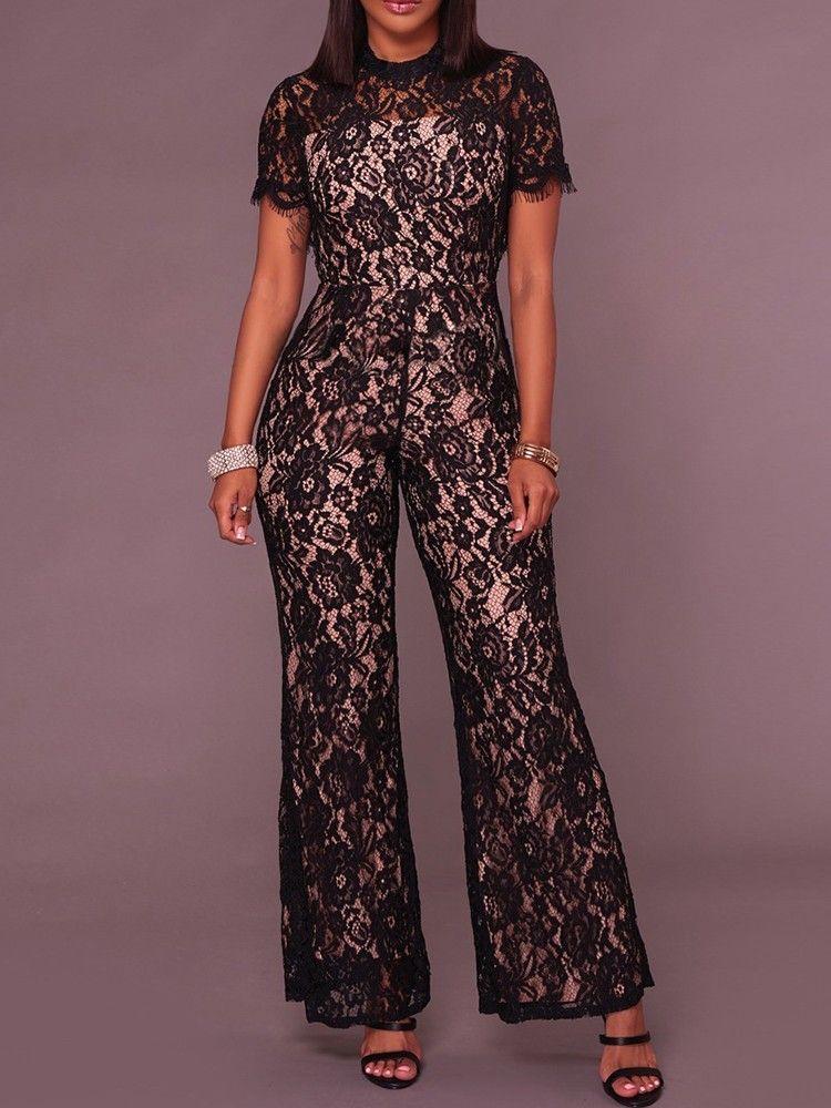 043479e09df Shop Jumpsuits Sexy Lace Crochet Open Back Culotte Jumpsuit