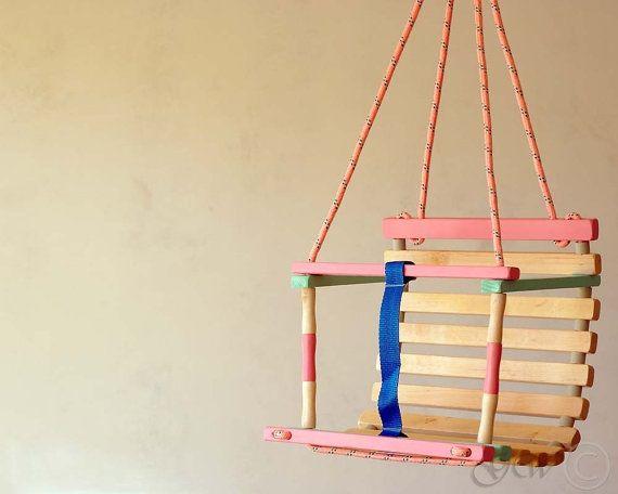 Wooden Handmade Swing Baby Swing Handmade Children by GreenWoodLT