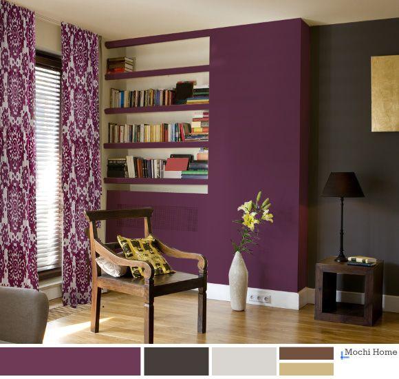 Grape Juice Purple Living Room with charcoal wall. | Purple ...