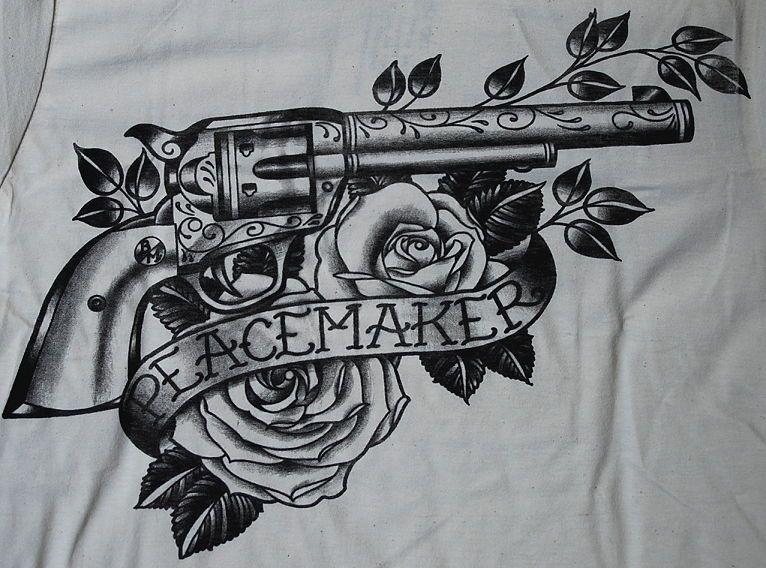 Peacemaker TATTOO SHIRT Gun Colt Revolver Black Market Western Country Style   eBay
