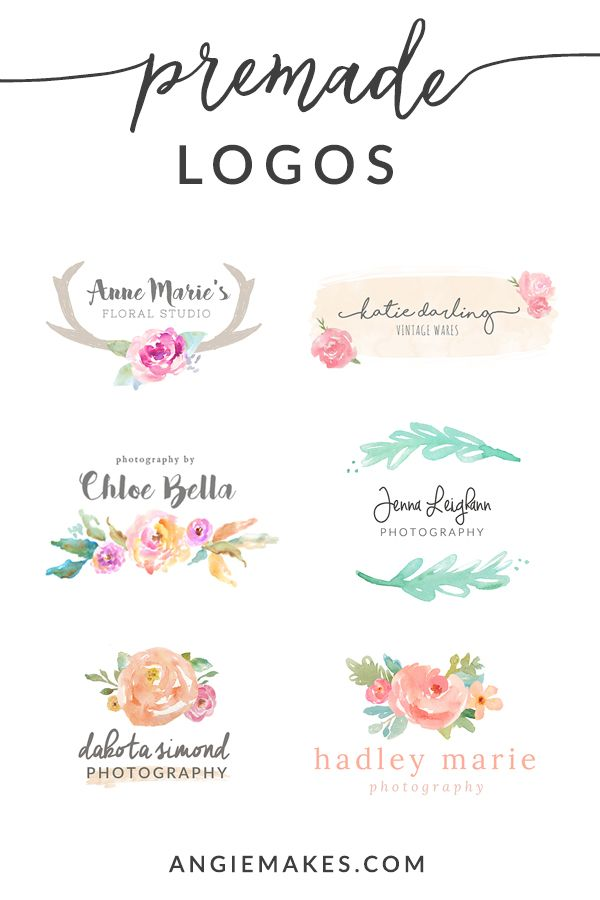 Cute Watercolor Premade Logos Watercolor Logo Girly Logo Lettering Fonts