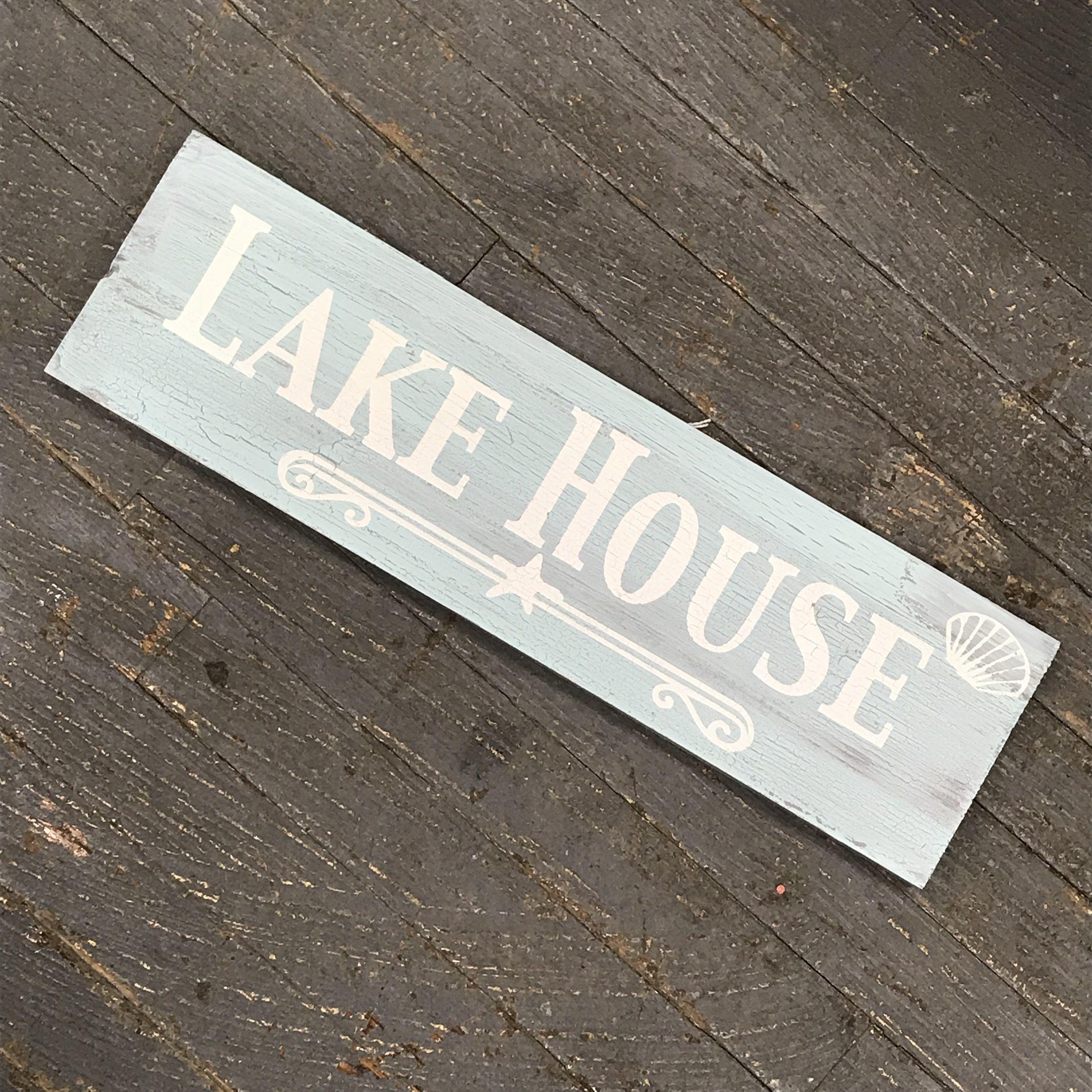 Wood Pallet Lake House Shell Sign Wall Hanger Door Decor