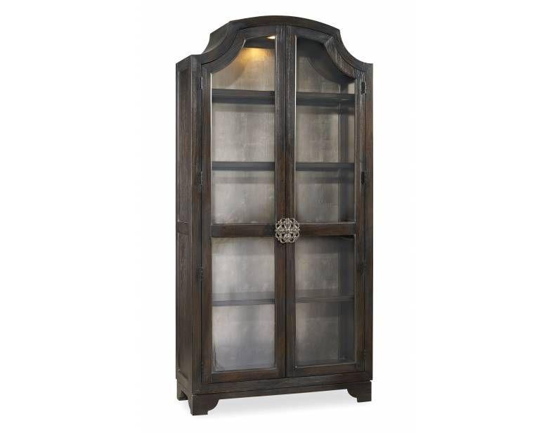 Sanctuary Glass Bunching Curio Ebony Antiqued Oak   Hooker Furniture   California  Furniture Galleries  