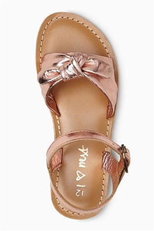 8b321e554 Buy Rose Gold Bow Leather Sandals (Younger Girls) from Next Australia