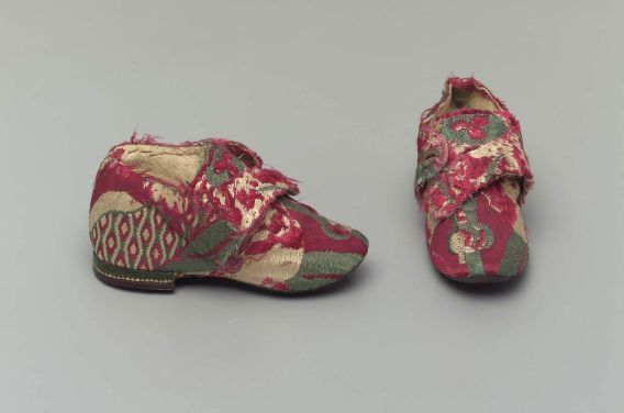Pair of children's shoes, French, 18th century,Silk brocade with leather heel, sole and lining         France