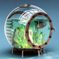 ♥ Pet Fish Stuff ♥   This small aquarium would be perfect for some underwater plants.