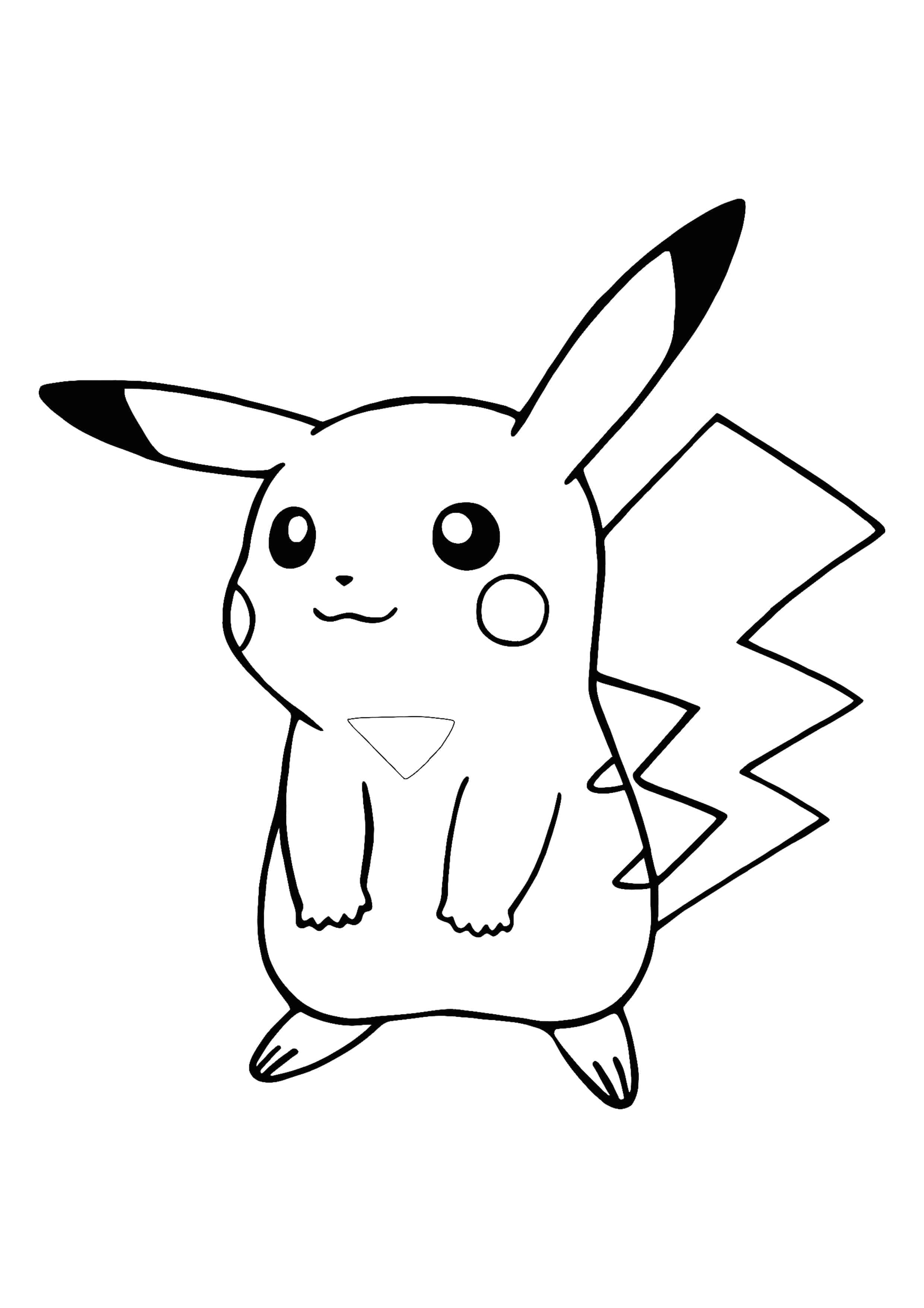 Kawaii Pikachu coloring page  Pikachu coloring page, Pokemon