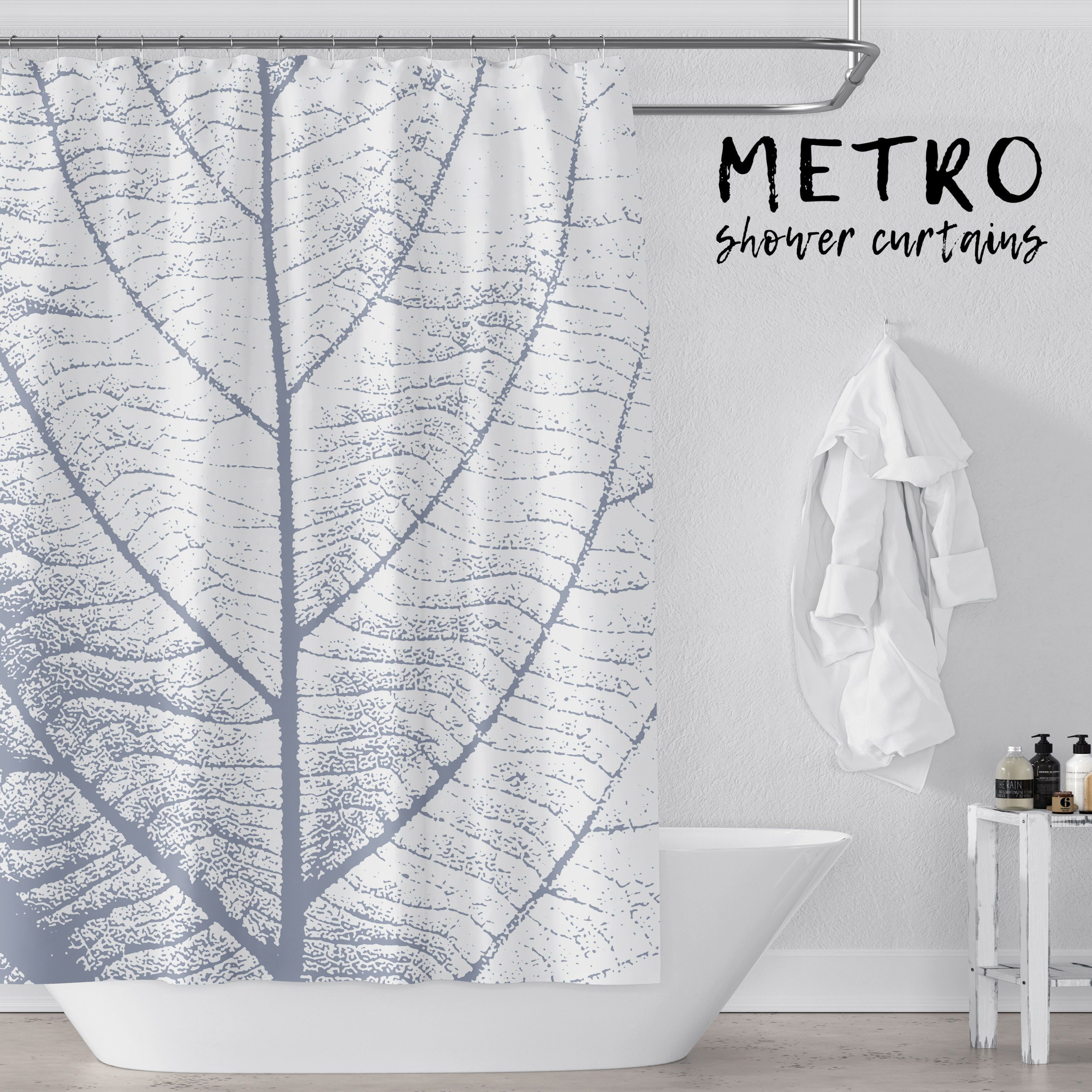 Blue And White Large Leaf Art Shower Curtain Vinyl Shower Curtains Shower Curtain Art White Bathroom Designs
