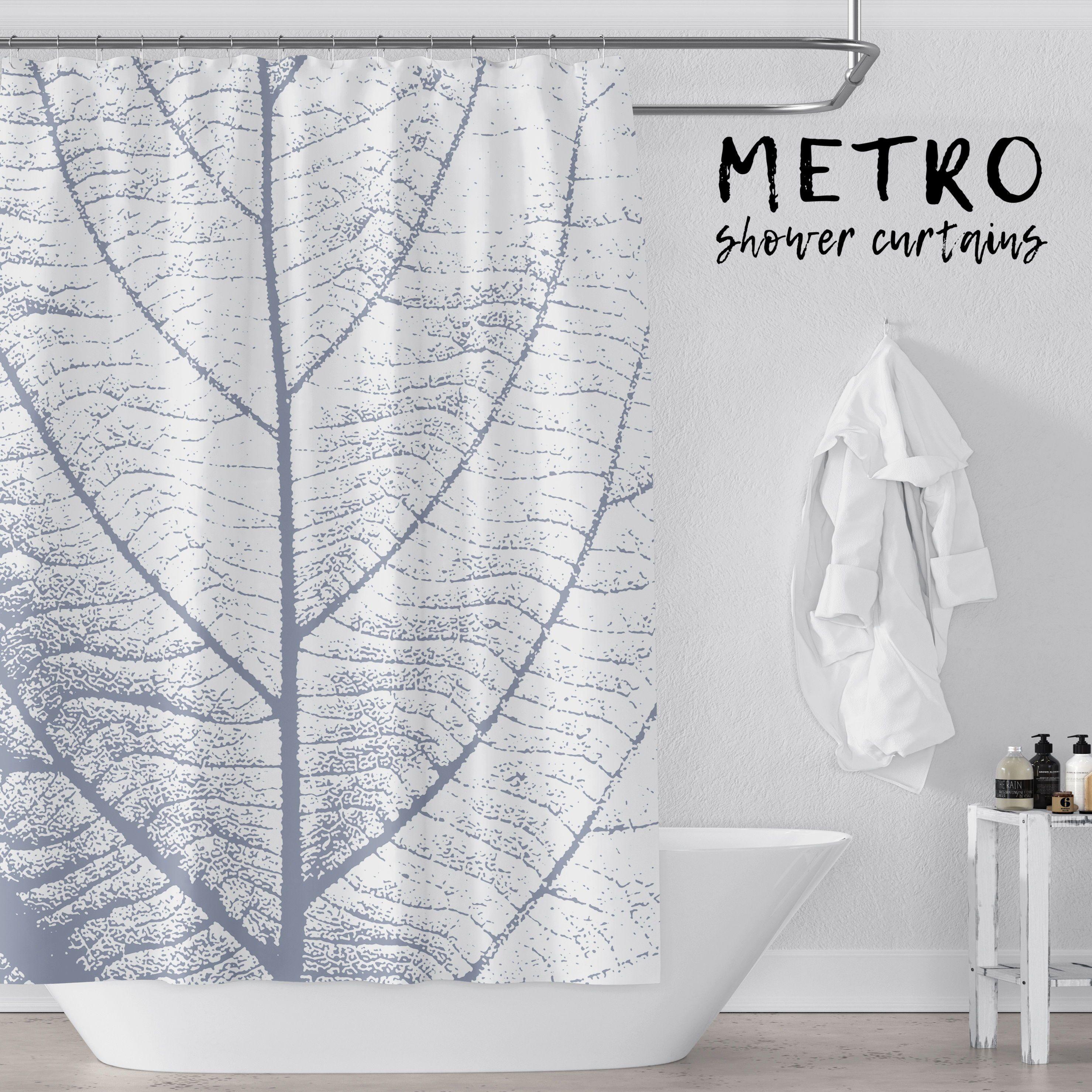 Blue And White Large Leaf Art Shower Curtain Vinyl Shower