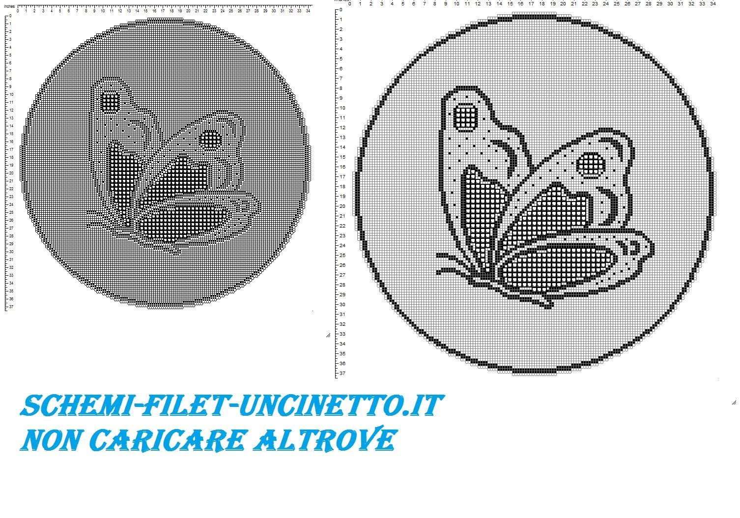 Centro rotondo con farfalla filet uncinetto schema gratis | Schemi ...