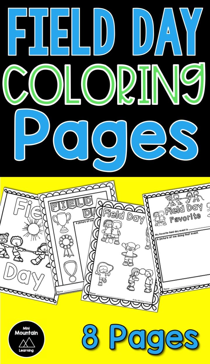 Field day coloring pages fields and students