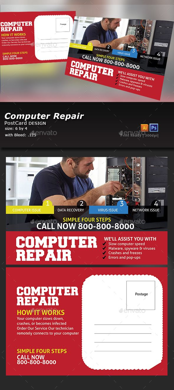 Computer Repair  Computer Repair Flyer Template And Postcard Template
