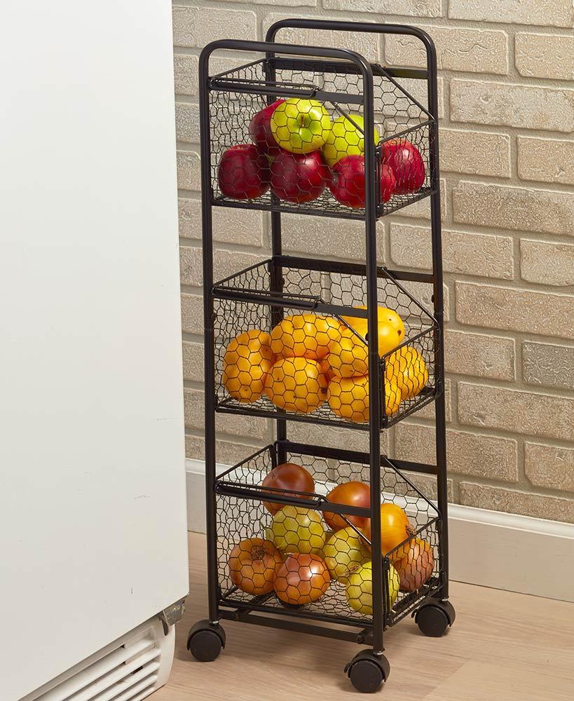 Decorative Slim Rolling Metal Kitchen Fruit Vegetable Basket Storage Organizer Cart Vegetable Storage Kitchen Decor Kitchen Style