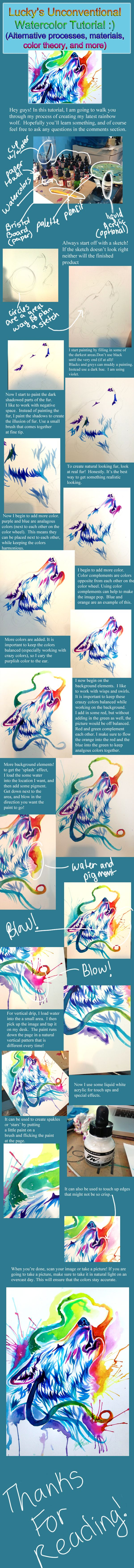 Rainbow Wolf Watercolor Tutorial by *Lucky978 on deviantART