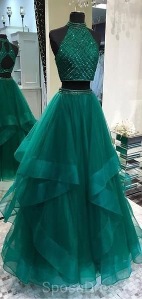 Sexy Two Pieces Emerald Green Open Back Evening Prom Dresses, Cheap Custom Sweet 16 Dresses, 18488 2