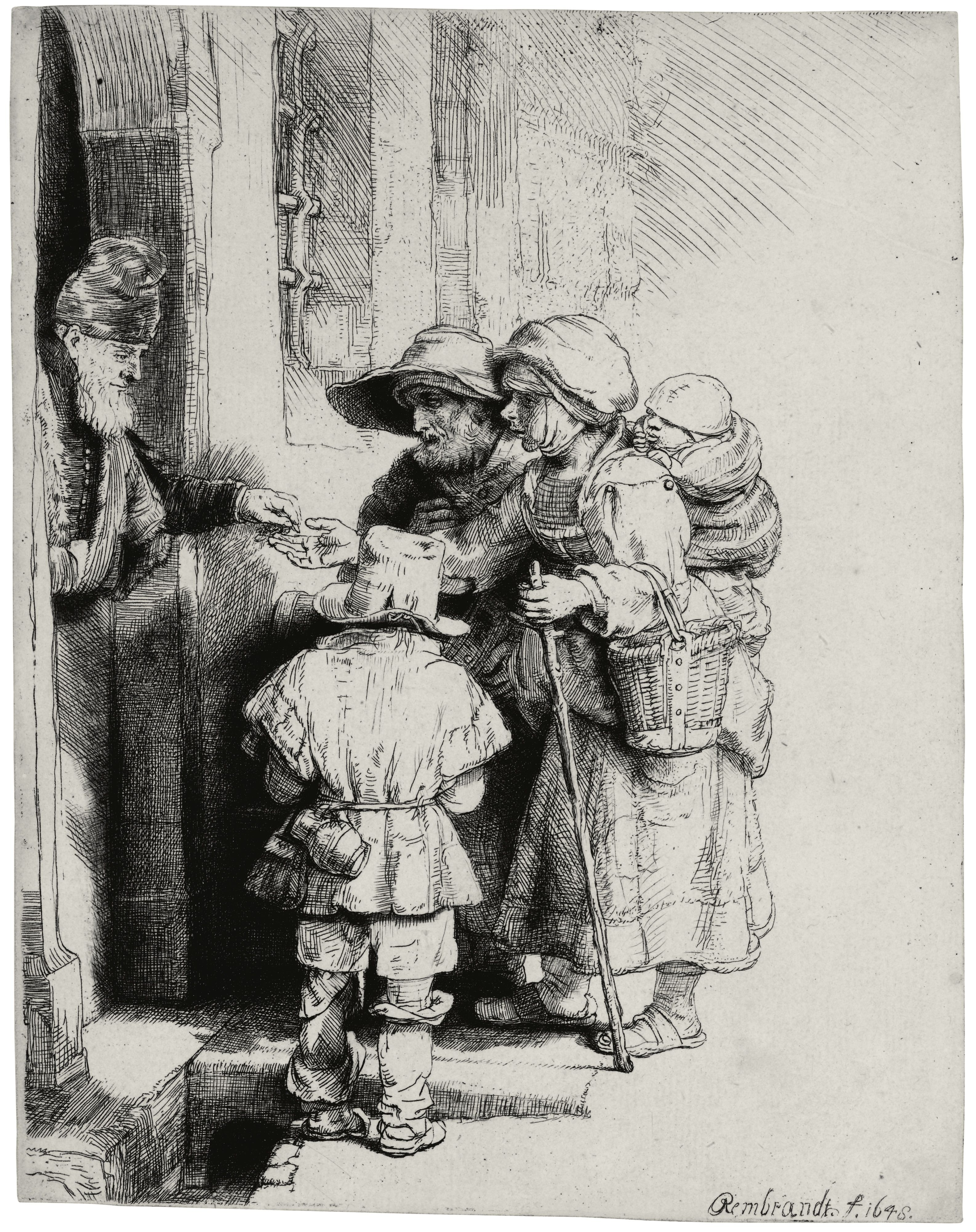 Rembrandt \u2013 BEGGARS RECEIVING ALMS AT THE DOOR OF A HOUSE 1648 : rembrand doors - Pezcame.Com