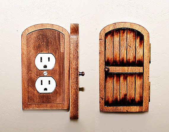 Handmade Wooden Rustic Fairy Door Switchplate Outlet Cover