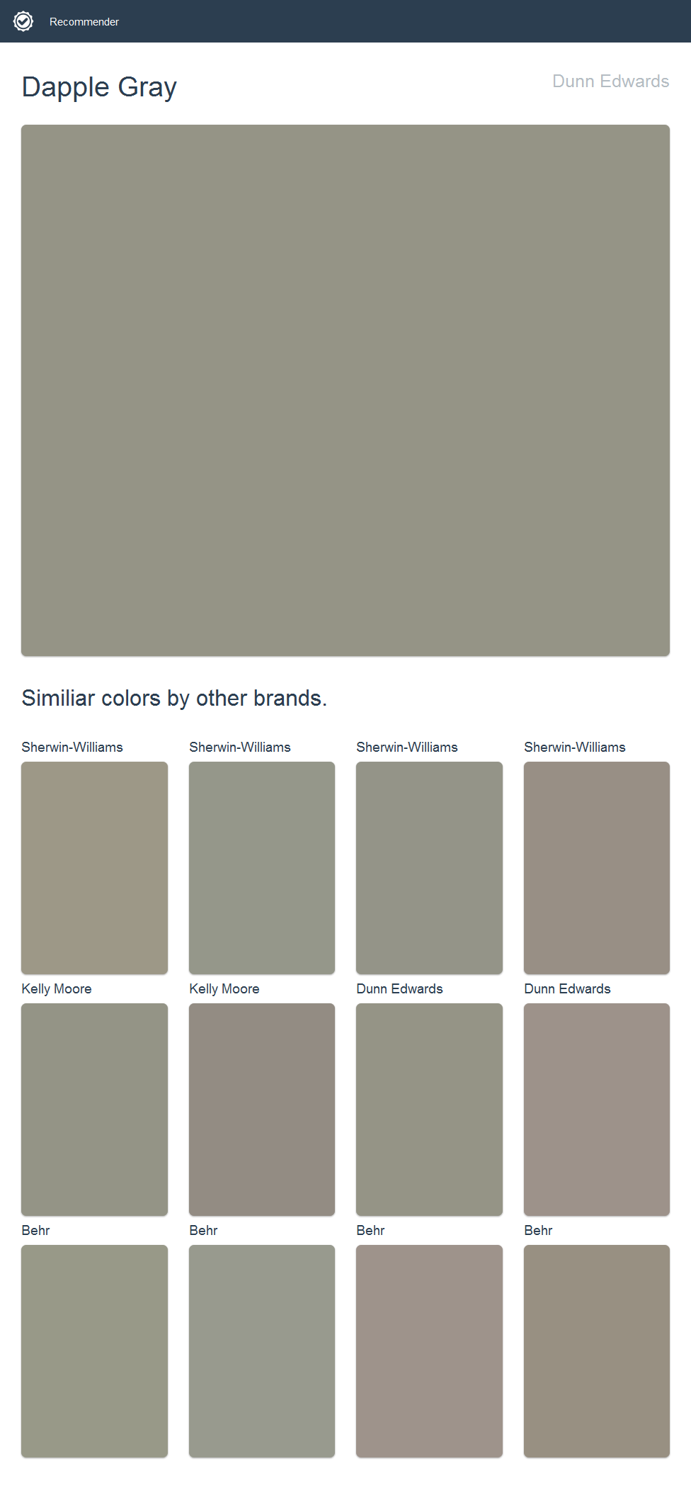 Dapple Gray, Dunn Edwards. Click the image to see similiar colors by other brands.