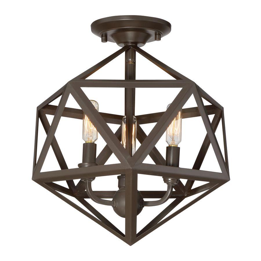 Lowes semi flush mount lighting - Lowes Quoizel Liberty Park 13 125 In W Bronze Metal Semi Flush Mount Light