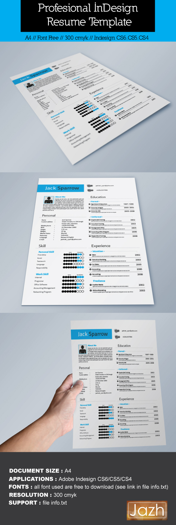 Indesign Resume Template by Jazhirah Ali Syam, via Behance ...