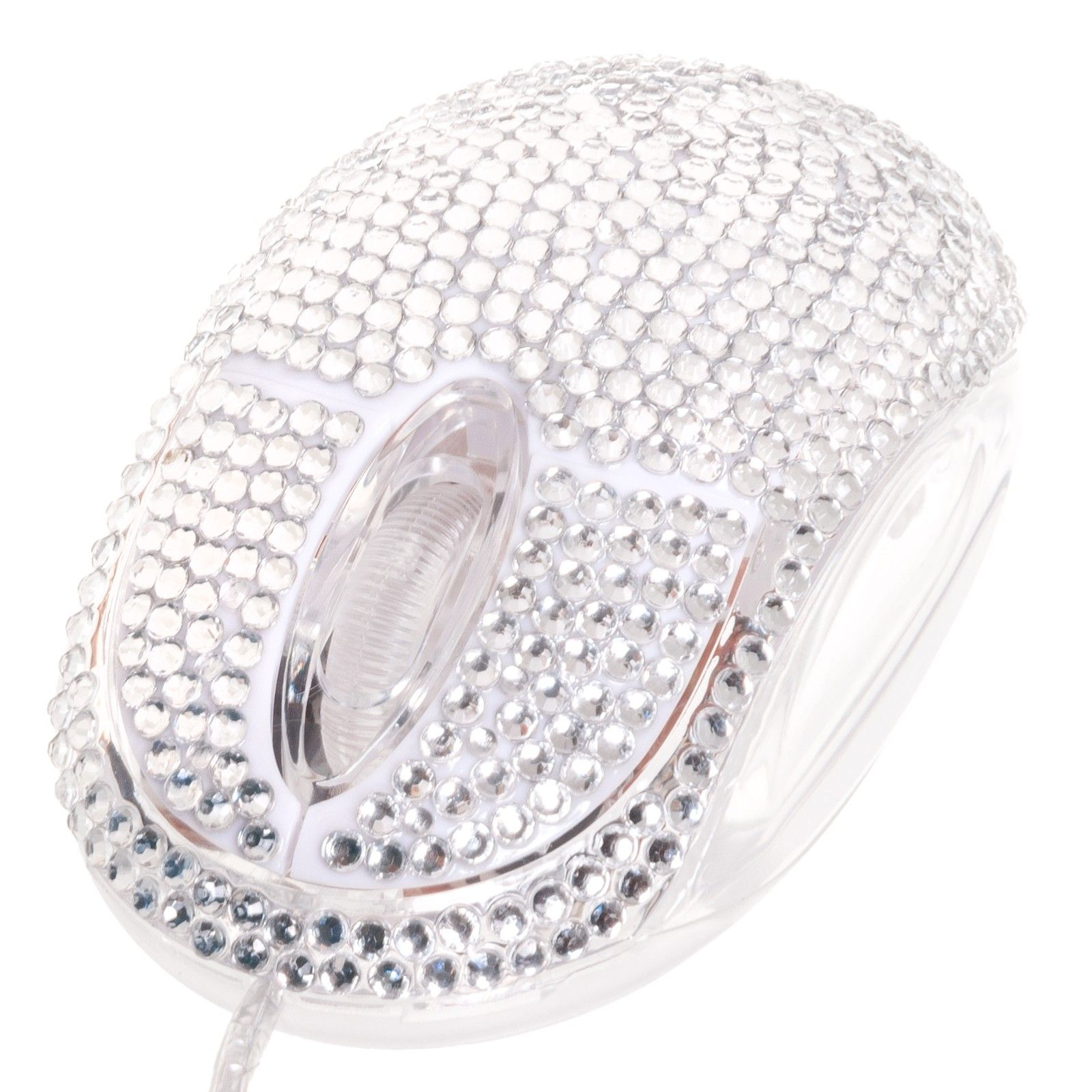 USB Optical Scroll Wheel Silver Crystal Rhinestone Computer Mouse - Crystal USB Mice - Computer