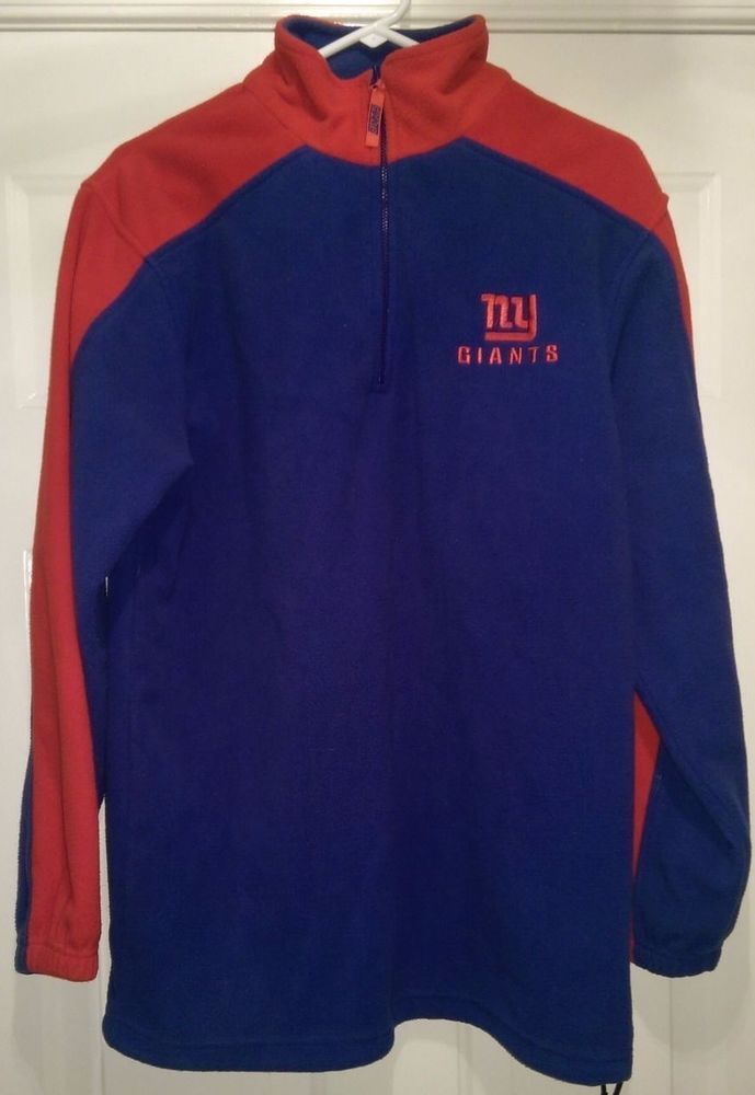 NFL Team Apparel Unisex Red Blue New York Giants Fleece Shirt Size M ... 5ae958c3a