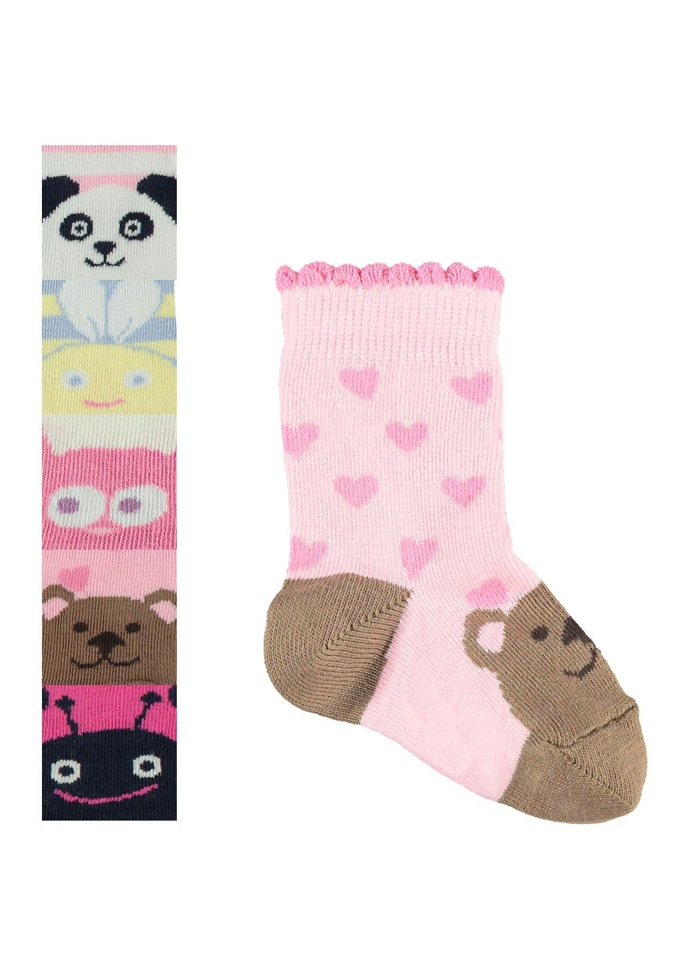 a57d294416b4c Girls 5 Pack Animal Face Print Ankle Socks (Sizes 0-8.5) - Matalan ...