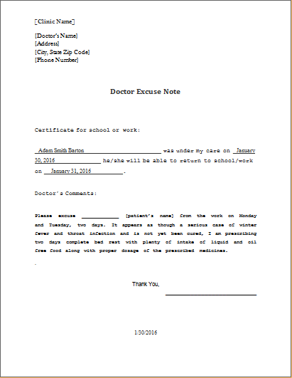 Doctor Excuse Note Template Download At HttpWww