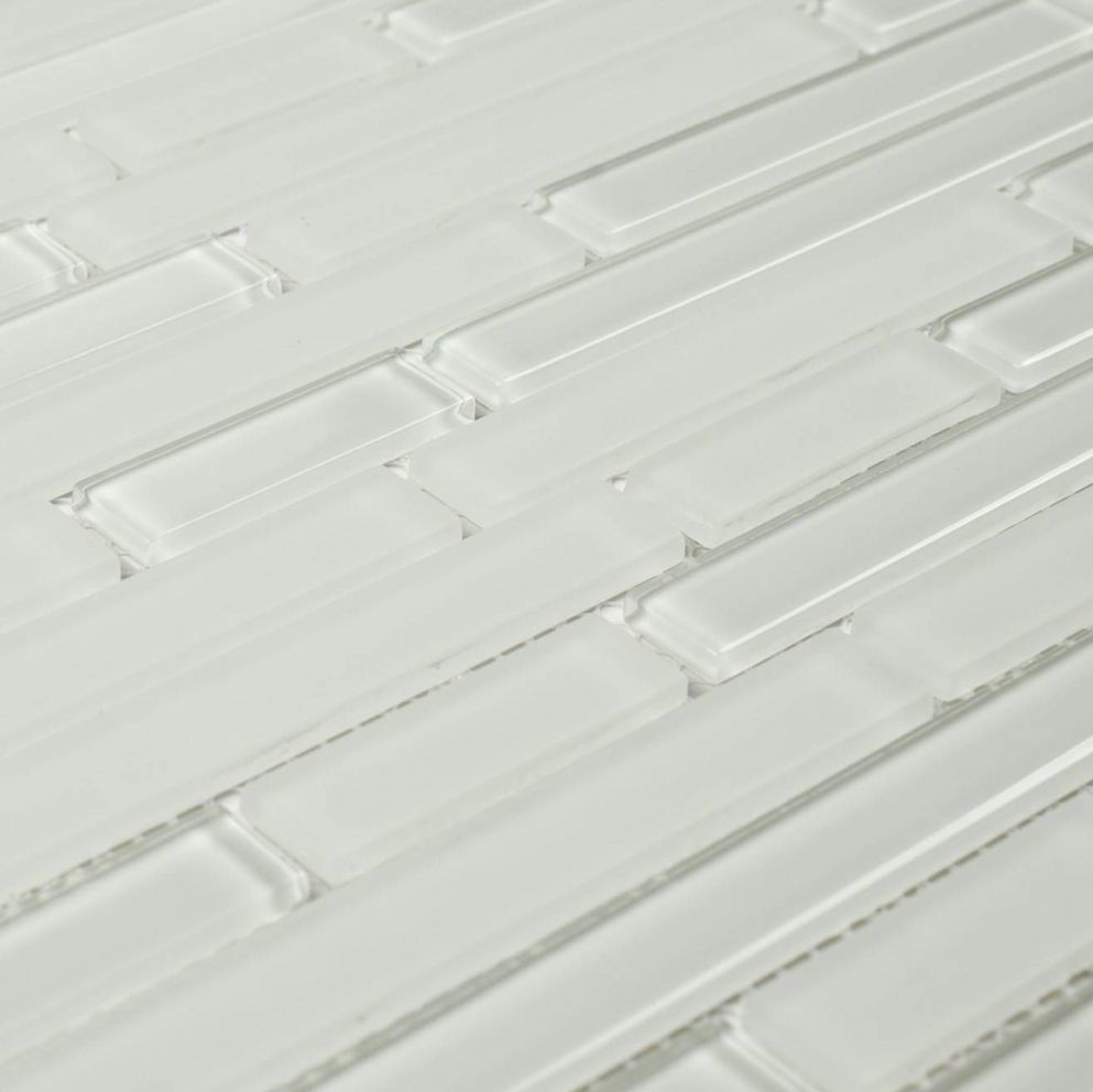 e1f4e825db6 Glass Mosaic Tile Linear White Ice for cheap bathroom and shower ...
