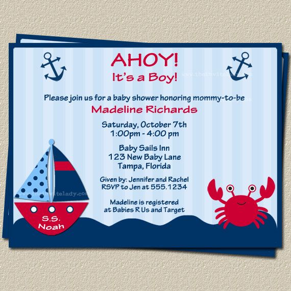 Ahoy Its a Boy Nautical Theme Baby Shower Invitations with ...
