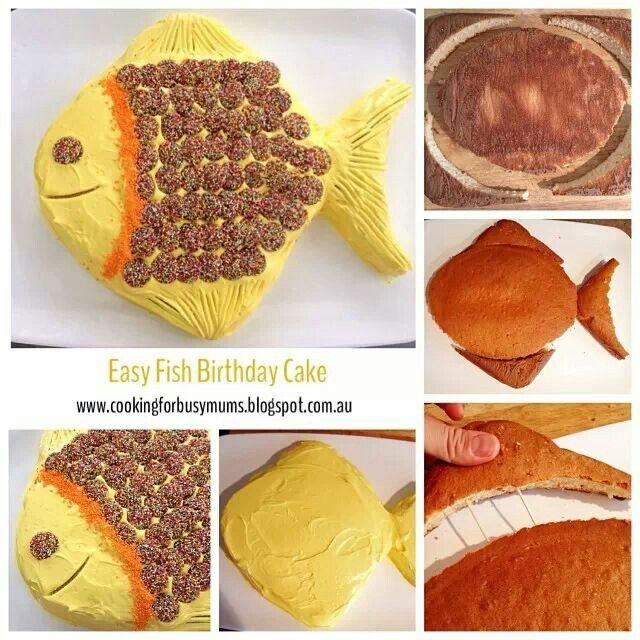 Easy Fish Birthday Cake Cookies Cakes Sweets Pinterest Fish