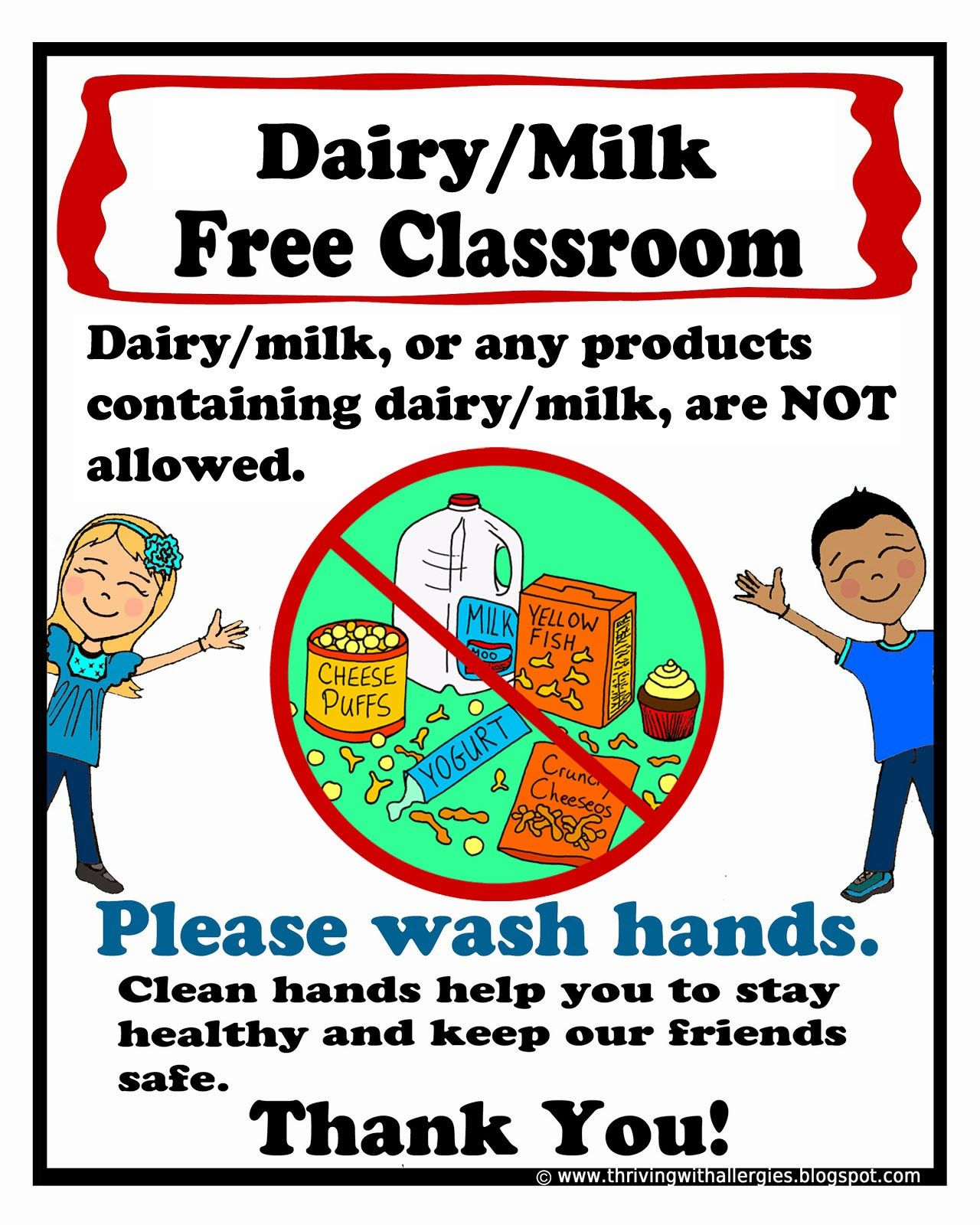 Dairy Free Classroom Poster A Free Printable Poster