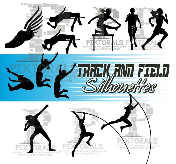 Was 9 95 Now 7 95 12 Track And Field Silhouettes Need A Fun Creative Graphic For Your Project Look No Further You A Track And Field Pole Vault Long Jump