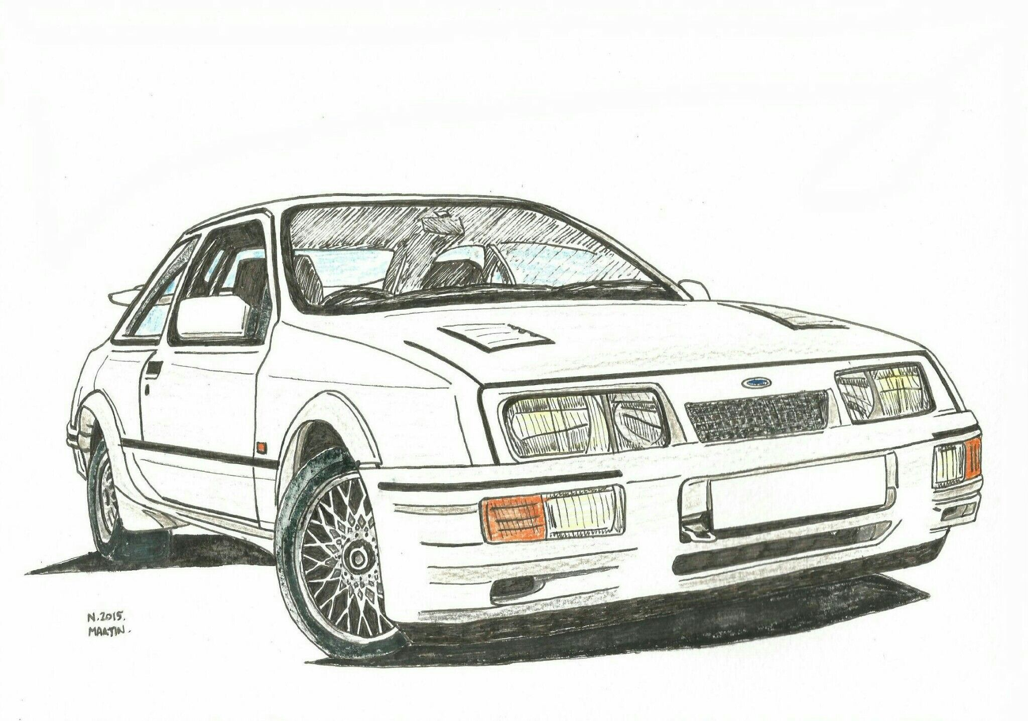 Ford Sierra Rs Cosworth Drawing My Drawing Of A Ford Sierra Rs Cosworth Using Watercolour Pencils And Pen On Watercolour Paper Please Contact Me If You Would