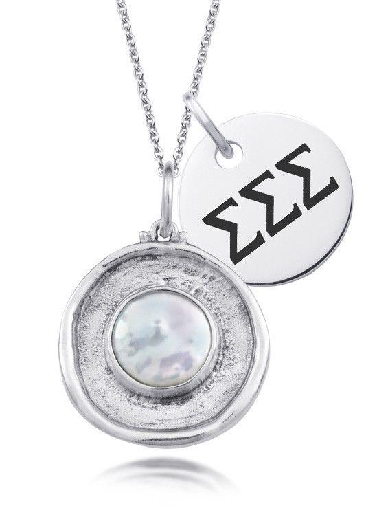 Sigma Sigma Sigma Pearl Coin Necklace