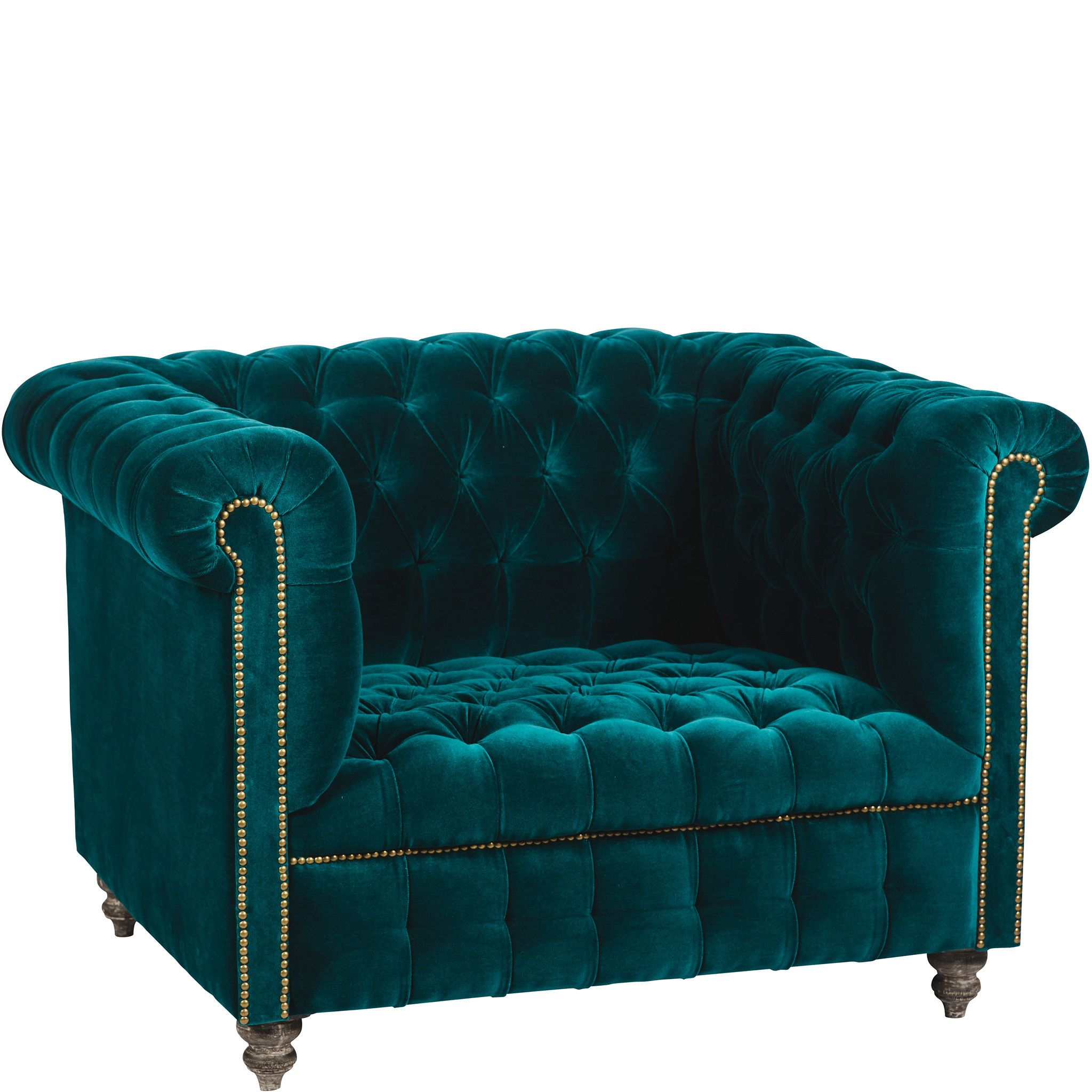 Aqua Teal Turquoiaw Velvet Accent Chair: Chesterfield Velvet Armchair - Teal
