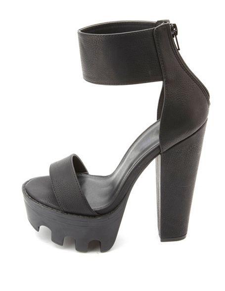 cb5eaca24 Single Strap Chunky Lug Platform Heels: Charlotte Russe   Charlotte ...