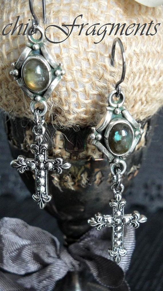 LABRADORITE Art Nouveau & Marcasite Cross Earrings. Sterling Silver. Sweet Dangles. Faith Collection Assemblage