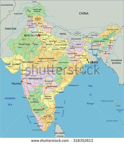 India - Highly detailed editable political map with labeling GEA - new world map political
