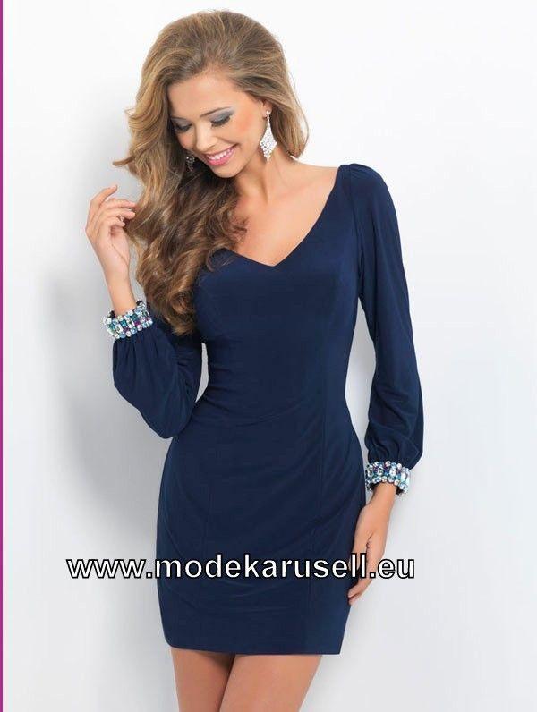 Kurzes Elegantes Langarm Abendkleid Dunkel Blau ...