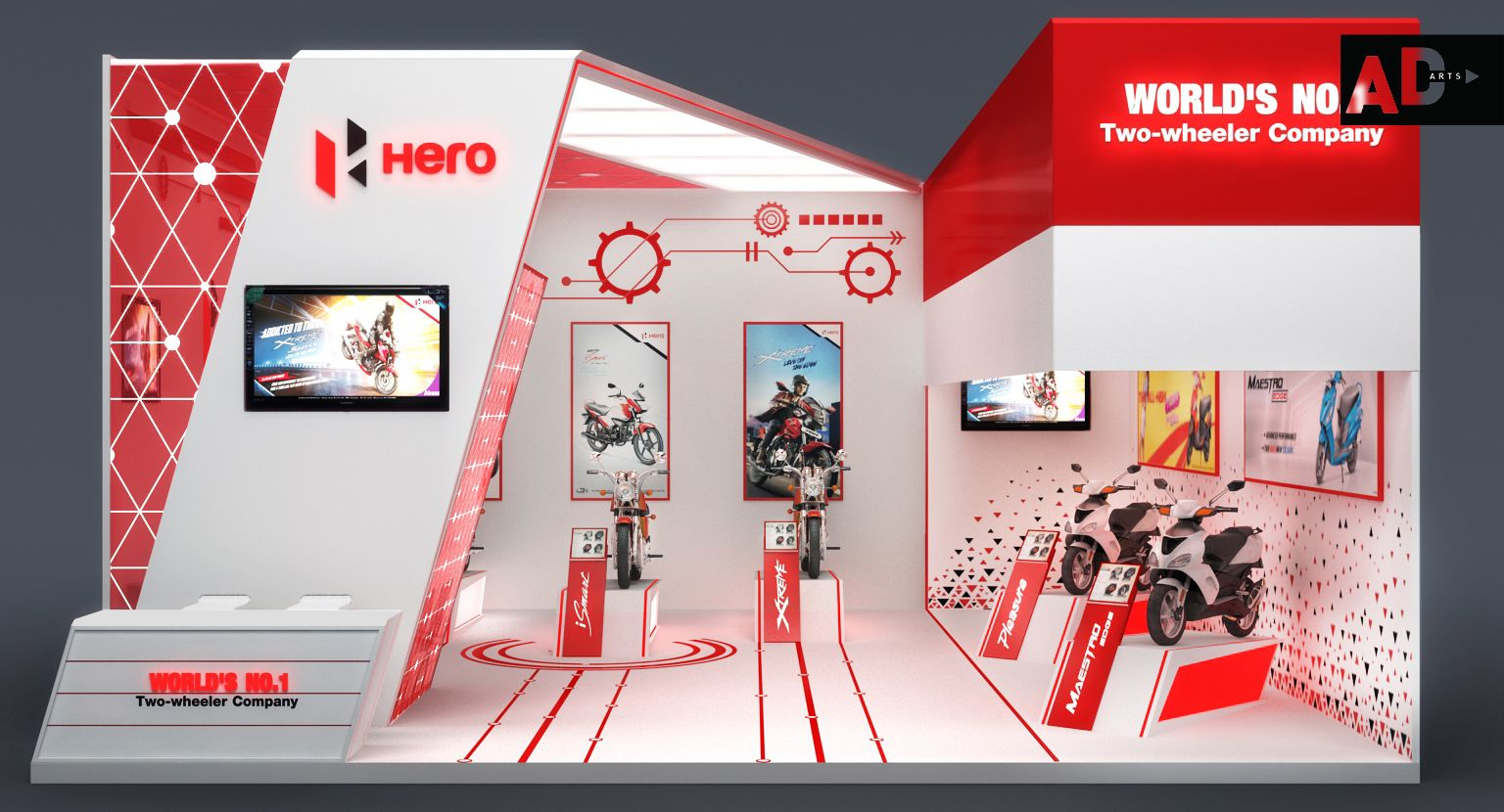 Exhibition Stall Fabricators In Coimbatore : This exhibition is designed for hero motocorp as they want to