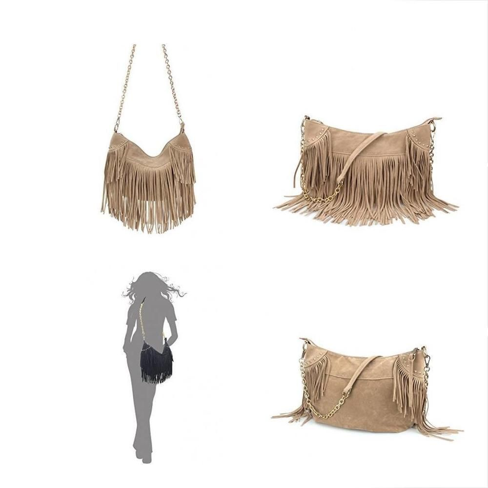 00c7359e4ba Hoxis Studded Tassel Faux Suede Leather Hobo Cross Body Chain Shoulder Bag  Wo  fashion  clothing  shoes  accessories  womensbagshandbags ...