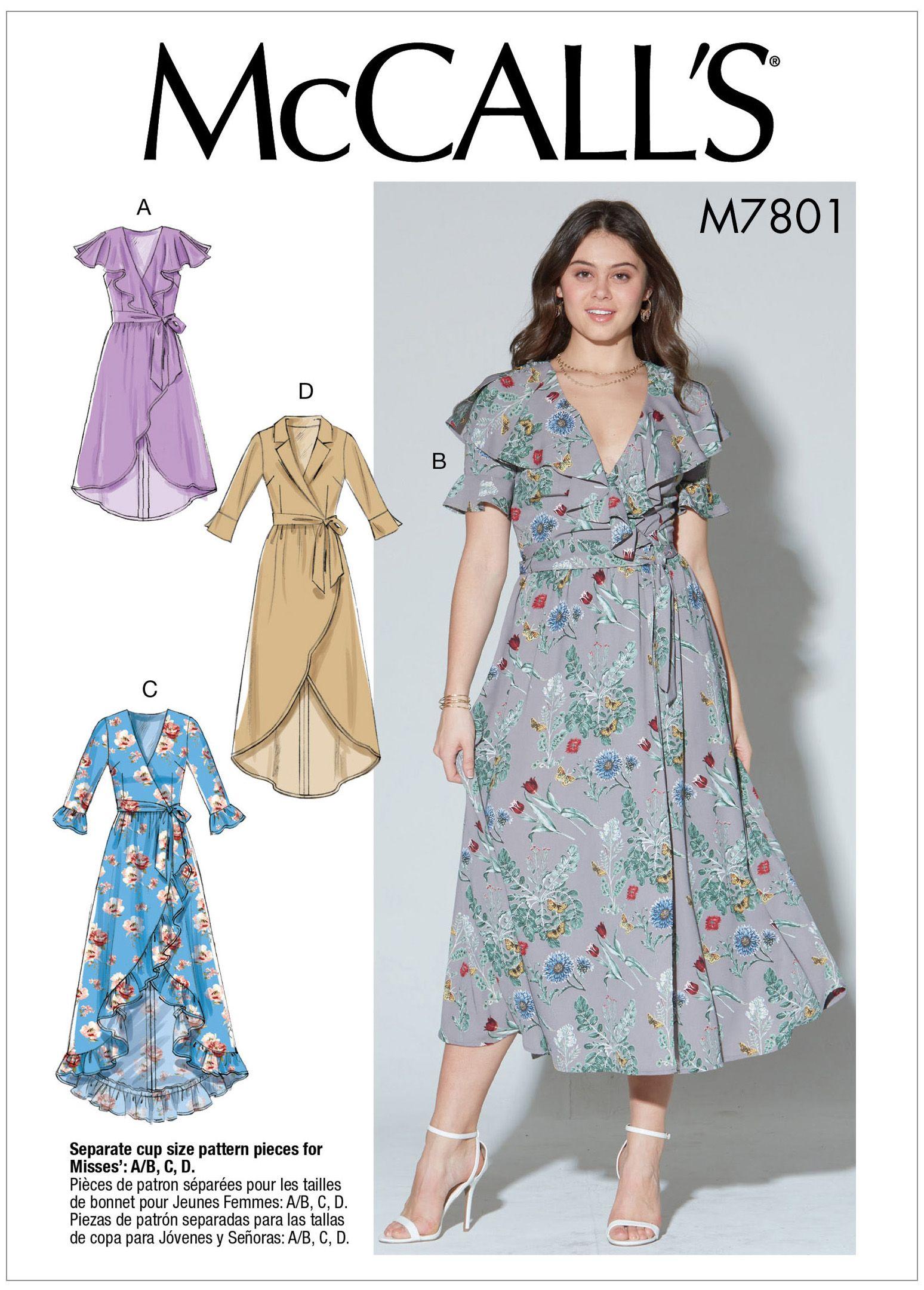 Mccall S 7801 Misses Dresses And Belt Wrap Dress Pattern Womens Wrap Dress Mccalls Patterns Dress [ 2160 x 1548 Pixel ]