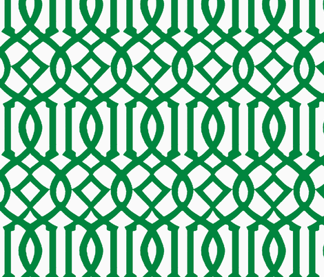 Imperial Trellis Green White Reverse Large Fabric By