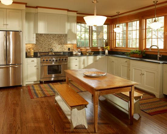 Beautiful country style kitchen remodel with stone backsplash and