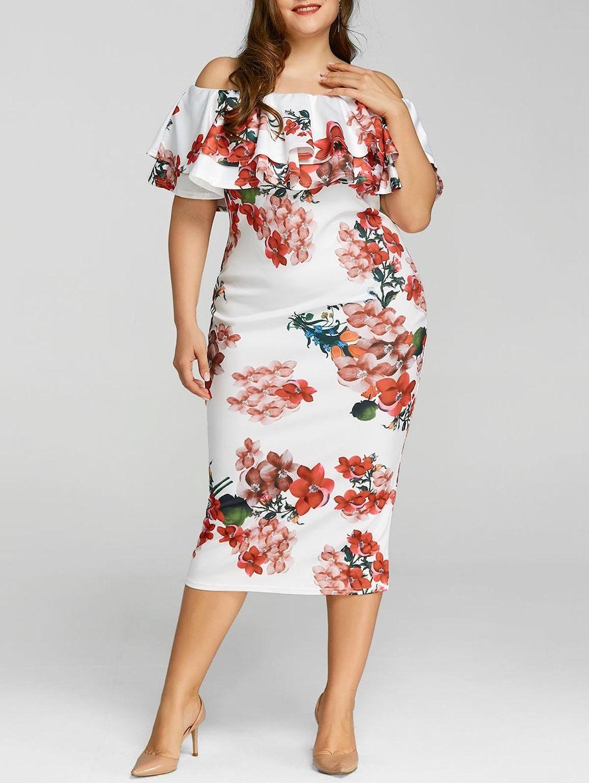 Plus Size Ruffle Floral Print Dress Elegant Bodycon Dress Plus Size Cocktail Dresses Plus Size Outfits [ 1330 x 1000 Pixel ]