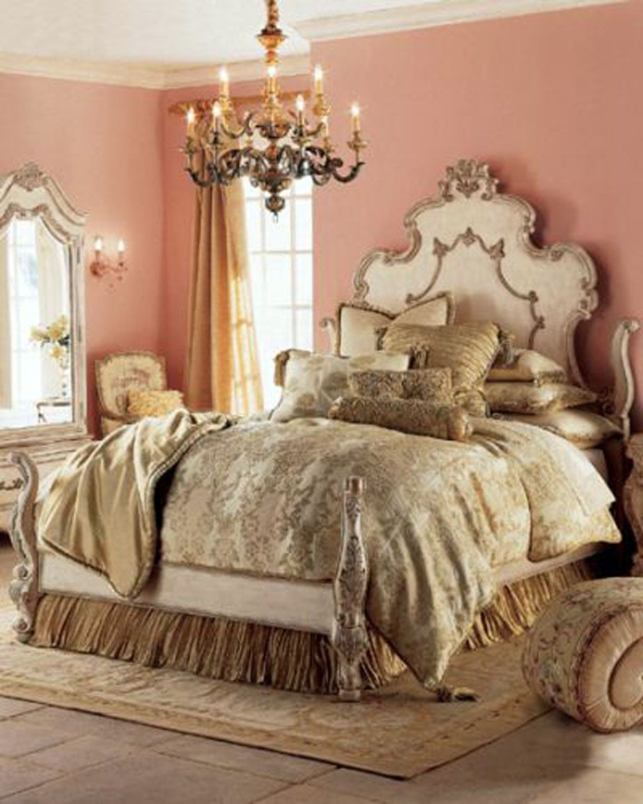 Patina style romantic bedroom - Opulent Coral Peach Bedroom