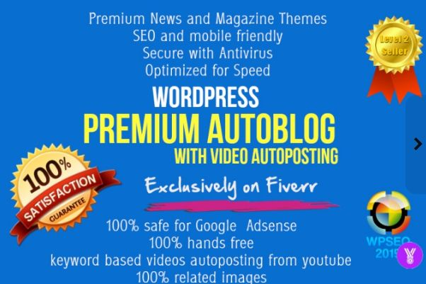 Wordpress Autoblog building service.   Autoblog Features:  1.Fully automatic content and images based on keywords. 2.No need to update and maintain; 100% hands free. 3.Schedule Post time as you like. 4.SEO optimized, 100% safe for Google and Adsense 5.Responsive(Mobile Friendly) design, simple unique logo, Home image slider,  videos autoposting, related post and many more   https://www.fiverr.com/wpseo2015/build-responsive-seo-friendly-wordpress-autoblog-site