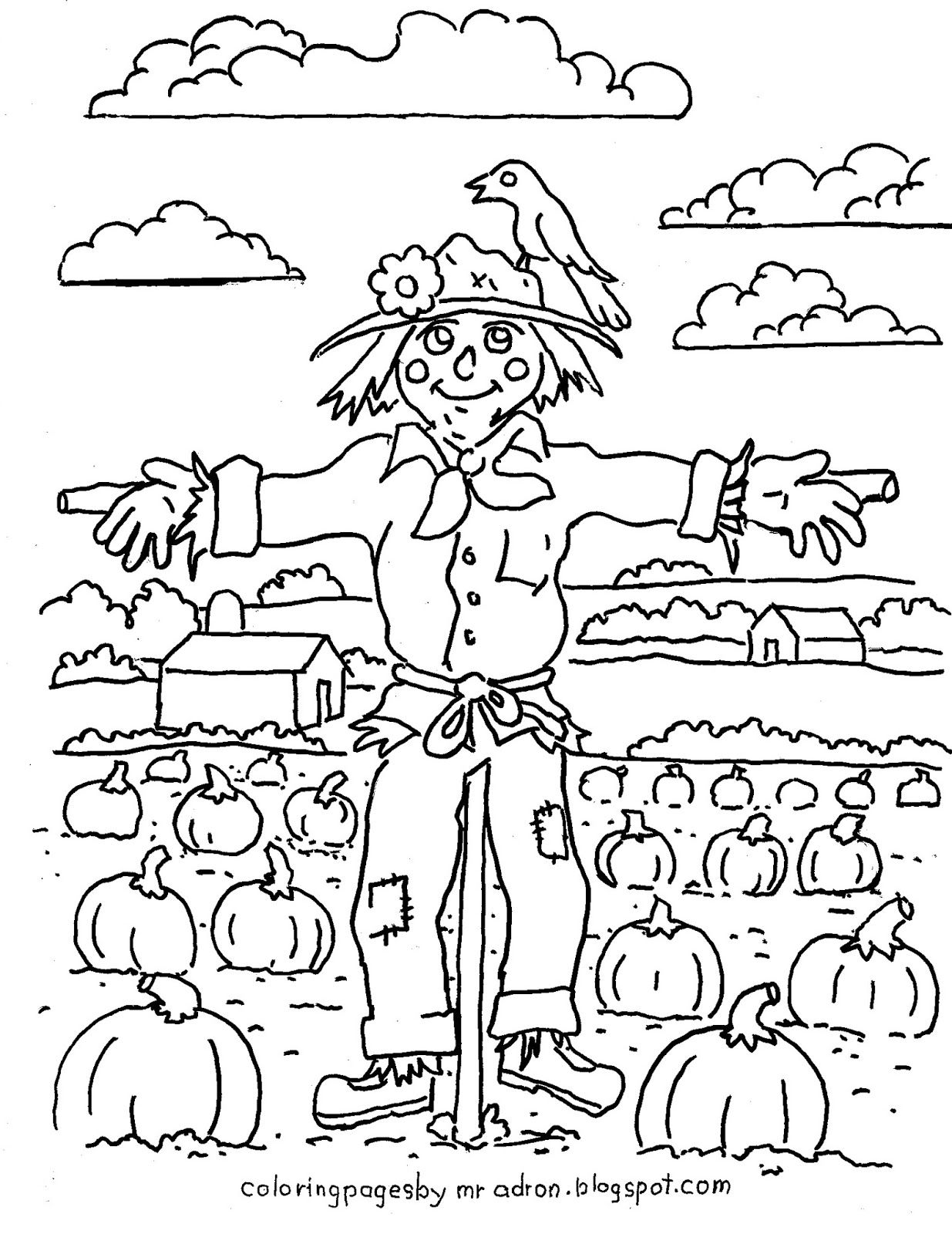 coloring pages for kids by mr adron printable harvest scarecrow